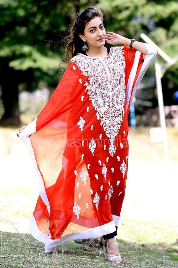 Ravishing Red Colour Georgette Kashmiri Aari Work Designer