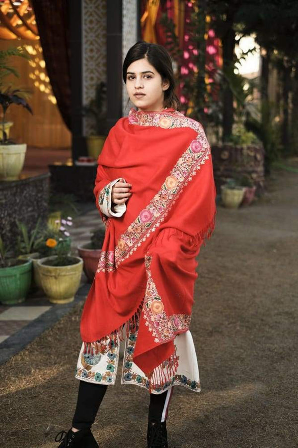 Red Color Kashmiri Shawl With Aari Jaal Gives A Trendy Look
