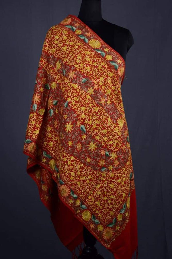 Red Color Kashmiri Work Embroidered Stole Enriched With