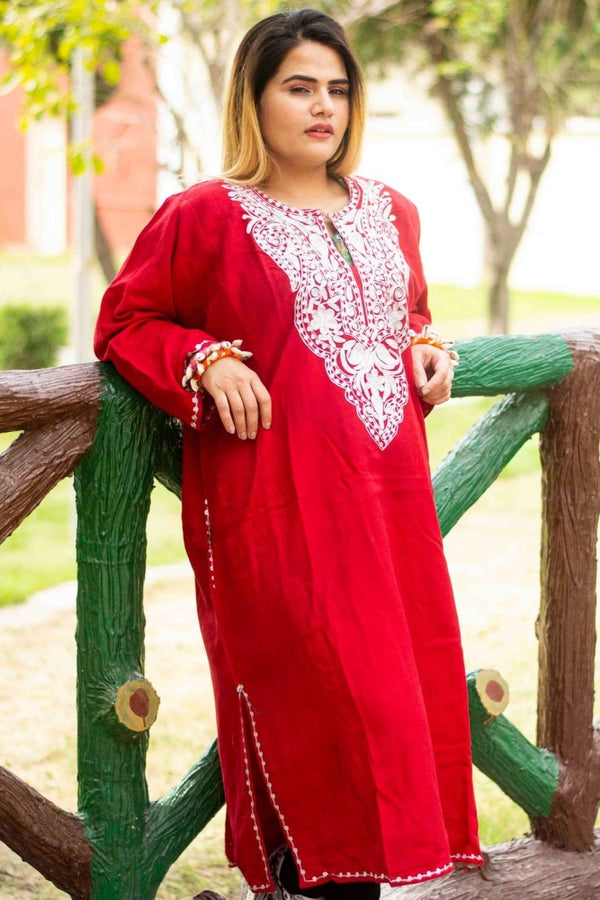 Red Color Kashmiri Zari Work Embroidered Phiran Enriched