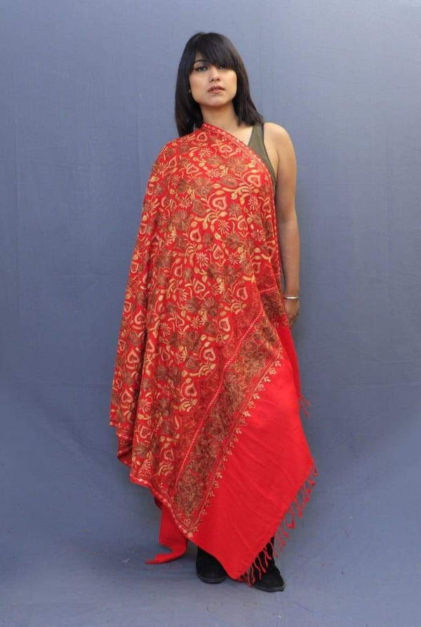 Red Color Shawl Having Beautiful Border And Attractive Jaal