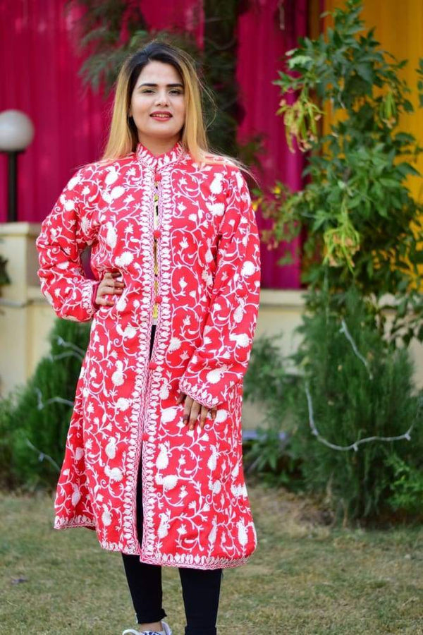 Red Colour Aari Work Embroidered Jacket Designer Paisley