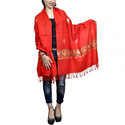Red Colour Aari Work Embroidered Stole With New Designer