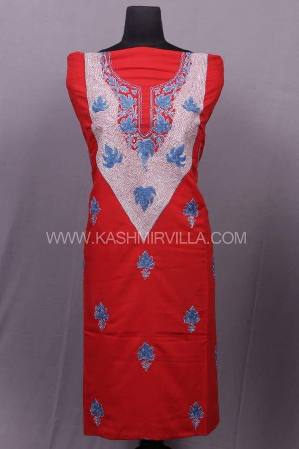 Red Colour Cotton Suit With The Combo Of Tilla And Aari
