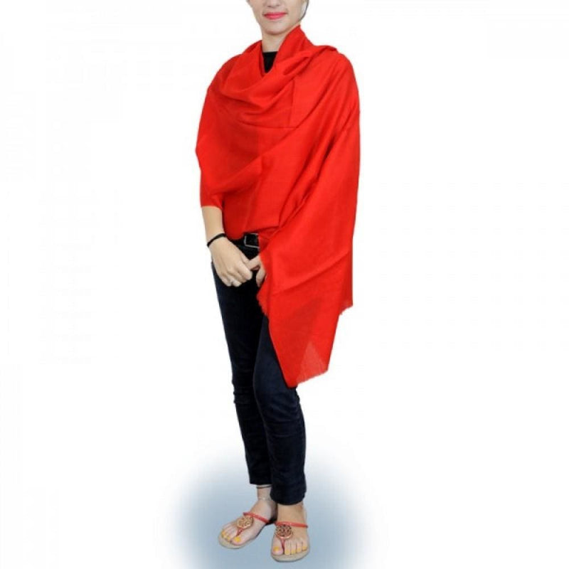 Red Colour Hand Woven Pashmina Wrap