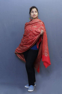 Red Colour Jamawar Shawl With Highly Defined Borders And All