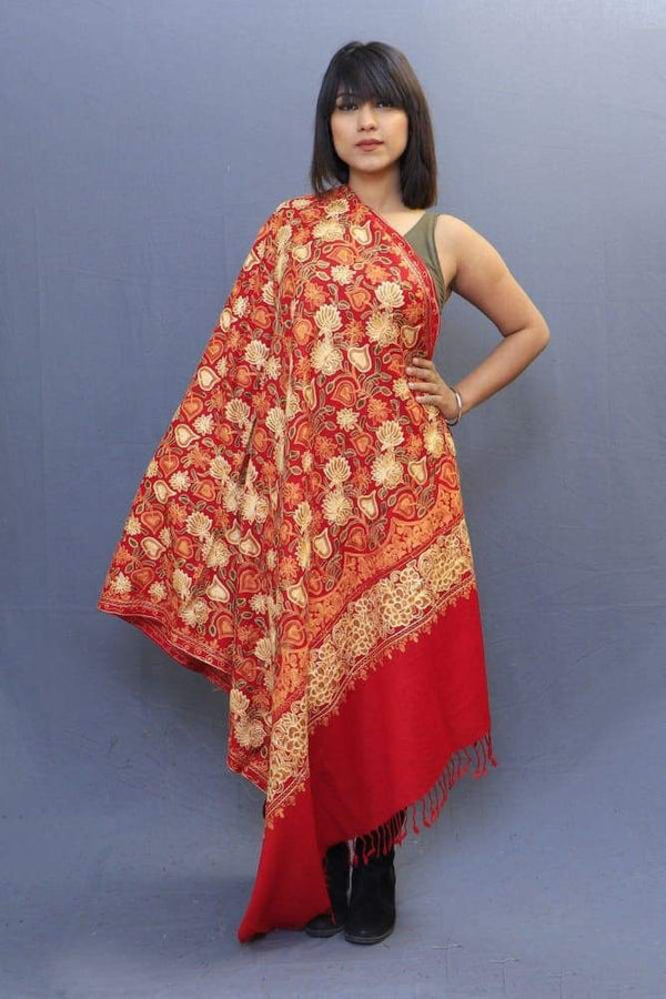 Red Colour Shawl With Wonderful Aari Jaal Gives A Trendy