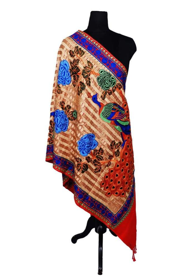 Red Colour Stole With Kashmiri Peacock Embroidery