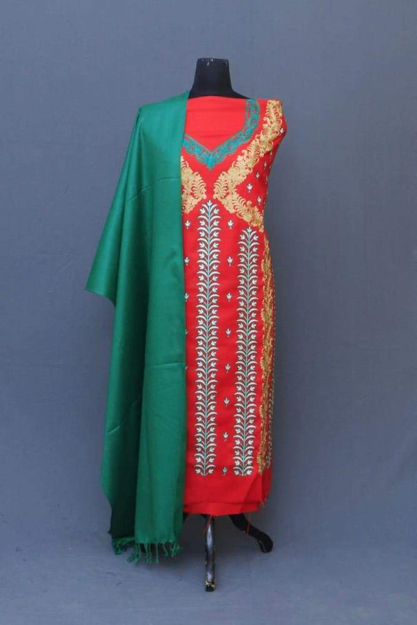 Red Colour Suit With Green Stole Along Attractive Embroidery