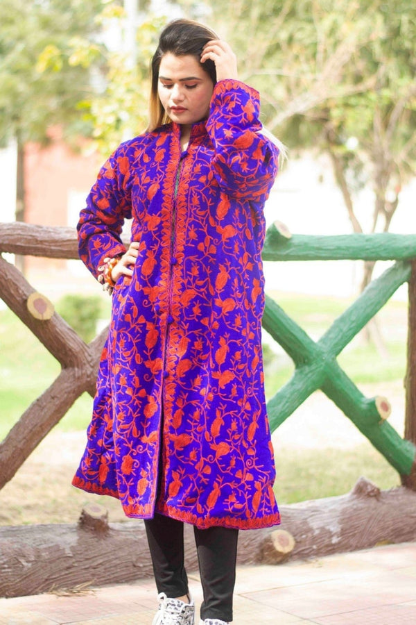 Royal Blue Aari Work Embroidered Jacket With New Designer