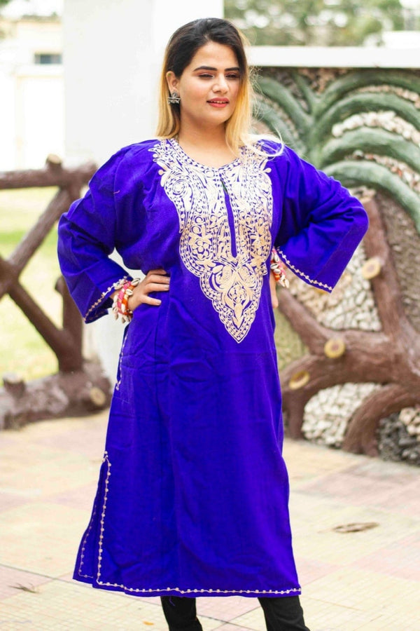Royal Blue Color Kashmiri Zari Work Embroidered Phiran
