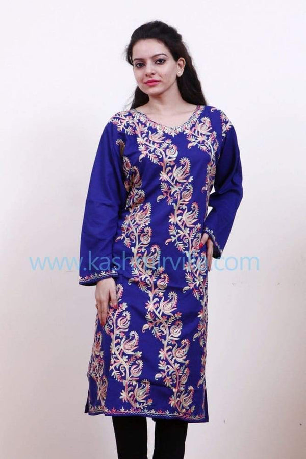 Royal Blue Colour Cotton Kurti Gives Trendy Look With Bail