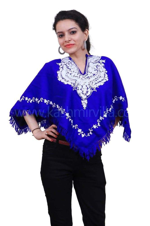Royal Blue Colour Ponchu With Elegant Kashmiri Embroidery.