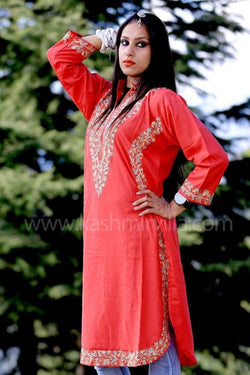 Salmon Pink Kashmiri Aari Work Embroidered Kurti Enriched