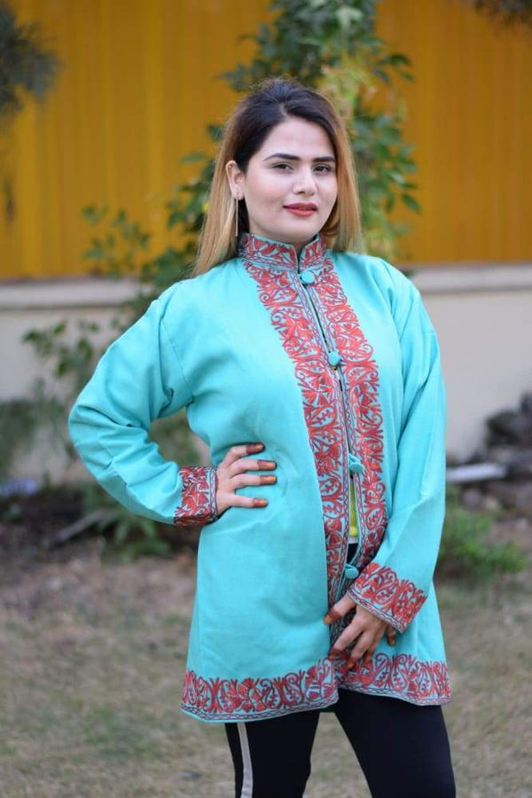 Sea Green Colour Aari Work Embroidered Jacket With New