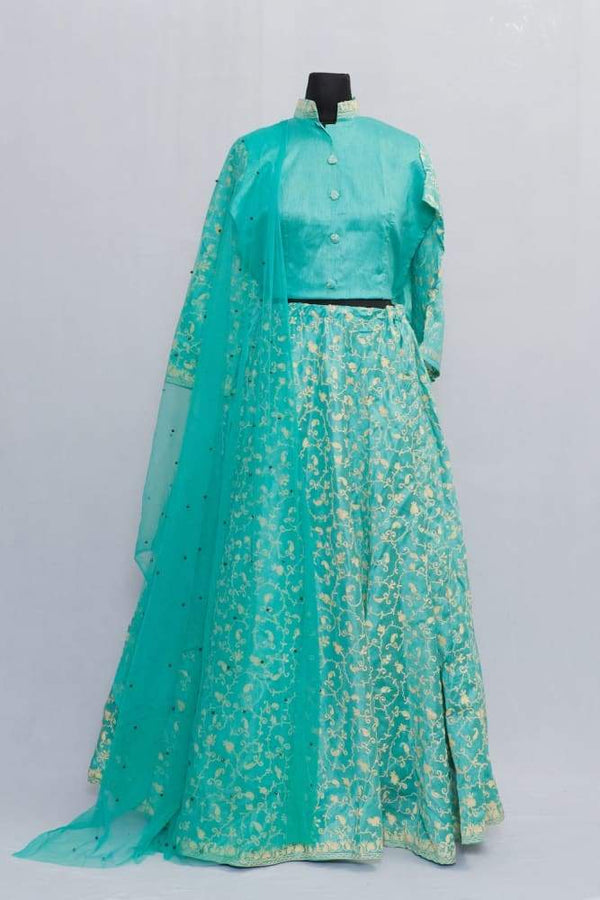 Sea Gren Color Kashmiri Embroidered Skirt With Crop Top And