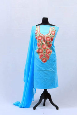 Sky Blue Aari Work Salwar Kameez With Neckline Embroidery
