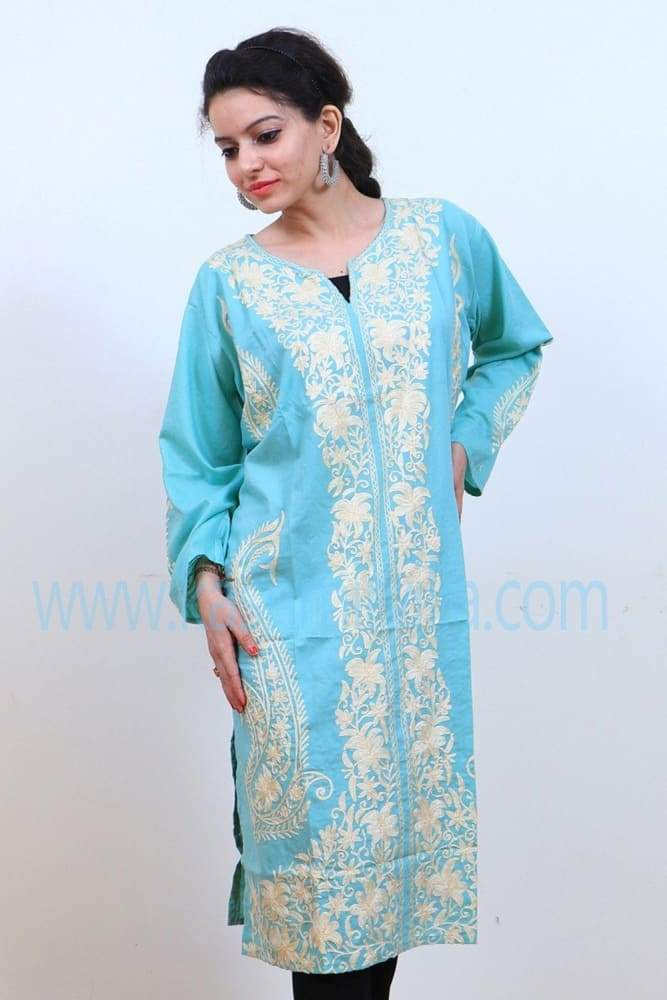 Sky Blue Colour Cotton Kurti With Beautiful Pattern Of