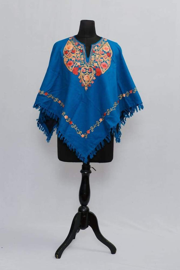 Sky Blue Colour Ponchu With Elegant Kashmiri Embroidery.