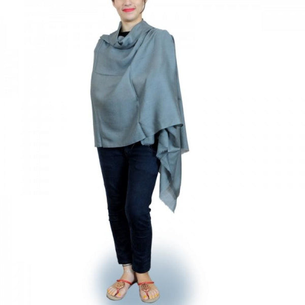 Smoky Grey Colour Hand Woven Pashmina Wrap Solid Pashmina Wraps kashmirvilla.