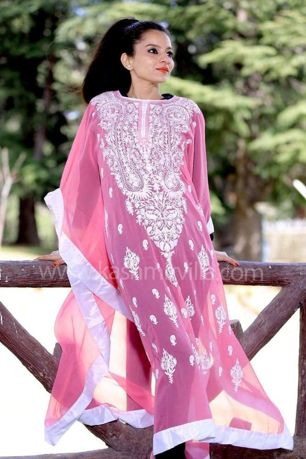Smoothy Pink Colour Georgette Kashmiri Aari Work Designer