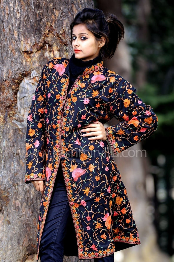 Stunning Black Colour Aari Work Embroidered Jacket With New