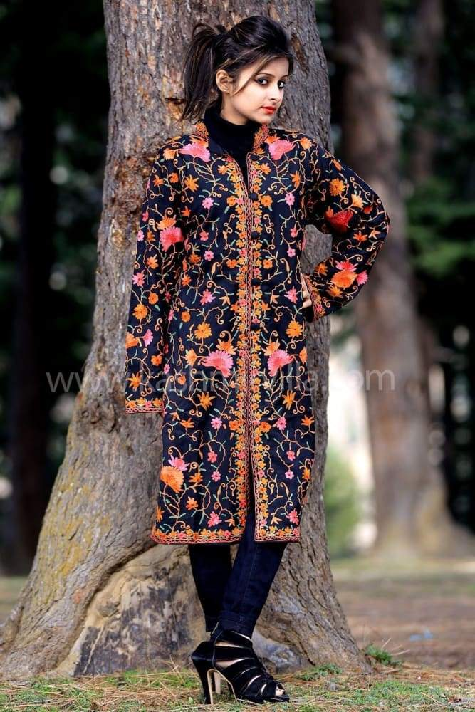 Stunning Navy blue Colour Aari Work Embroidered Jacket With