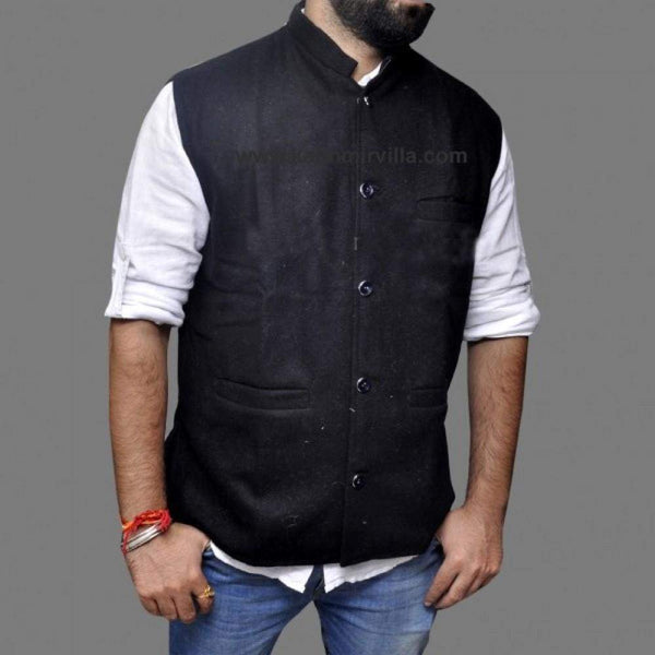 Stylish Black New Look With High Quality Tweed Waist Coat