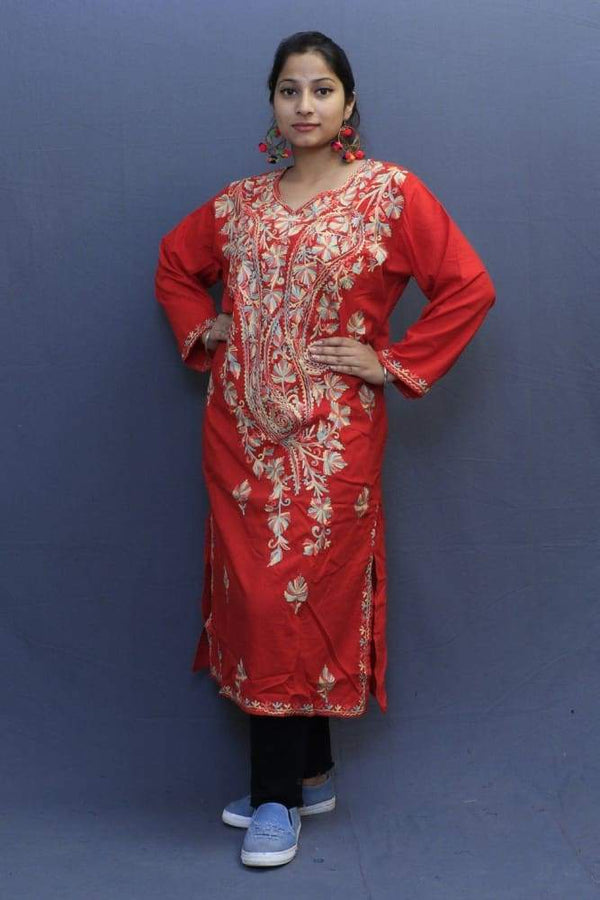 Tomato Red Colour Cotton Kurti With Fine Woven Kashmiri