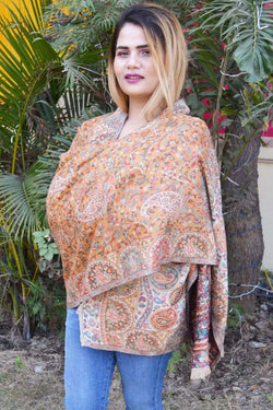 Turmeric Yellow Color Kashmiri Kani Work Stole