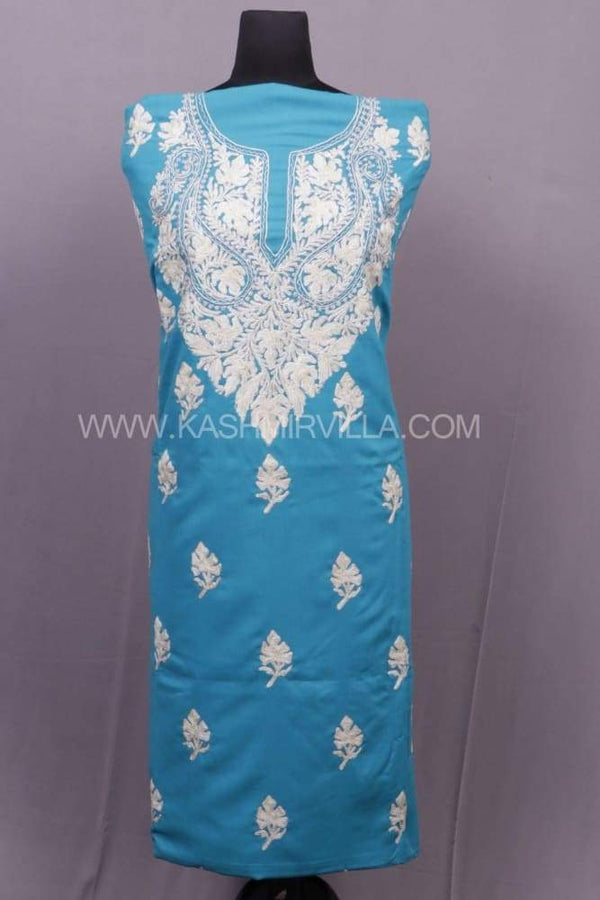 Turquoise Colour Cotton Suit With Aari And The Touch Of
