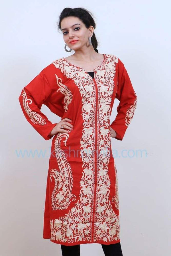 Vibrant Red Colour Cotton Kurti With Beautiful Pattern Of