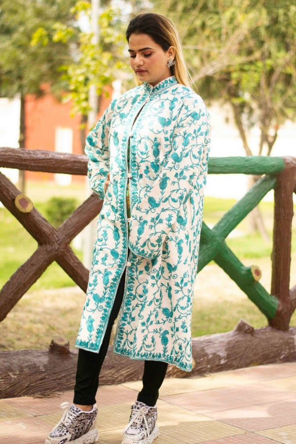 White Aari Work Embroidered Jacket With New Designer Paisley