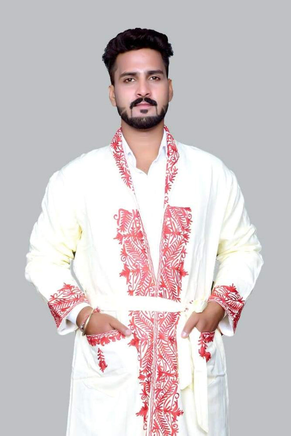 White Color Kashmiri Embroidered Woolen Men's Gown / Robe