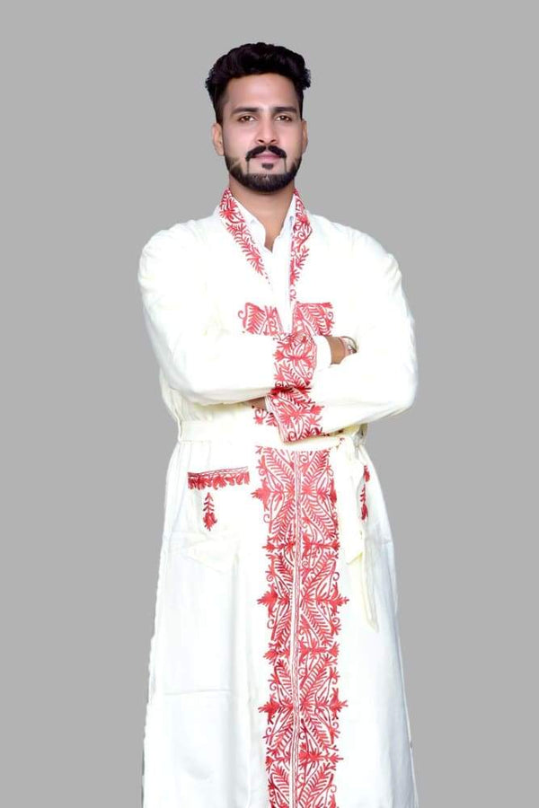 White Color Kashmiri Embroidered Woolen Men's Gown / Robe Men's Gown kashmirvilla.