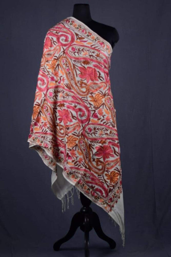 White Color Kashmiri Work Embroidered Stole Enriched With