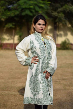 White Colour Aari Work Embroidered Jacket Designer Paisley