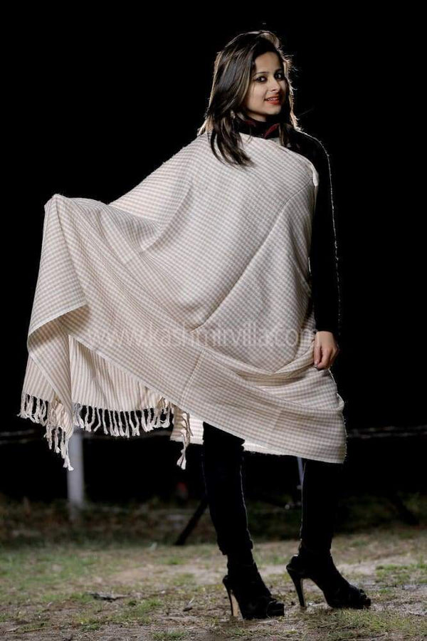White Colour Check Woolen Shawl Gives Glamorous Look.