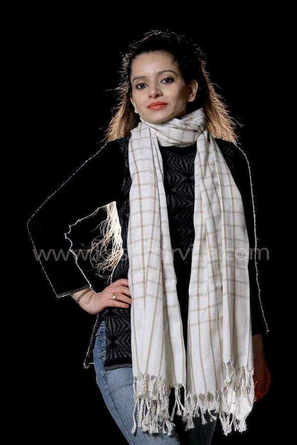 White Colour Check Woolen Shawl Gives Modern Look.