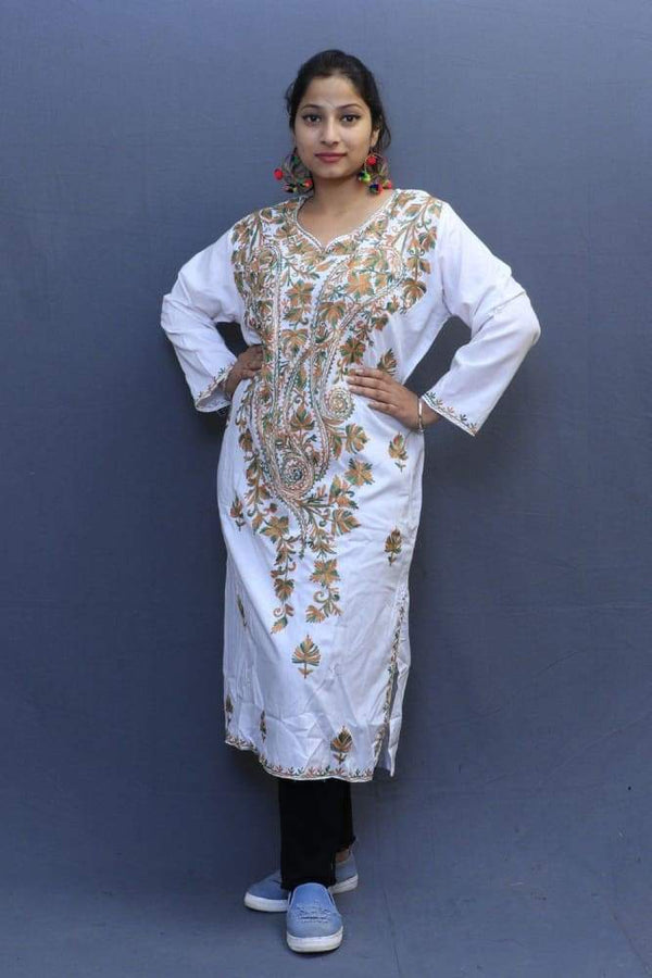 White Colour Cotton Kurti With Fine Woven Kashmiri