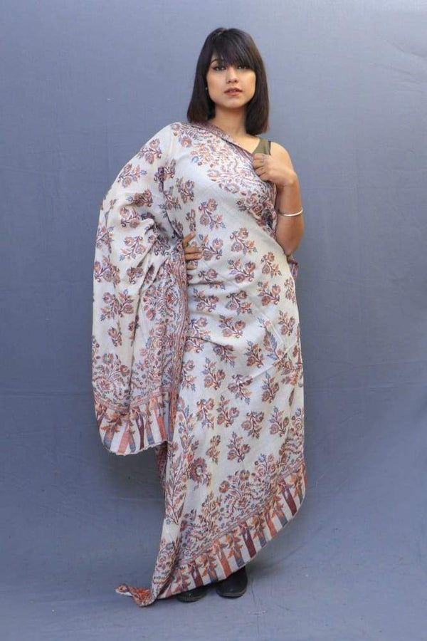 White Colour Kani Shawl With All Over Bold And Dense Motifs