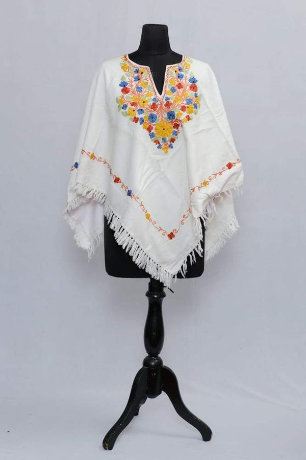 White Colour Ponchu With Elegant Kashmiri Embroidery.