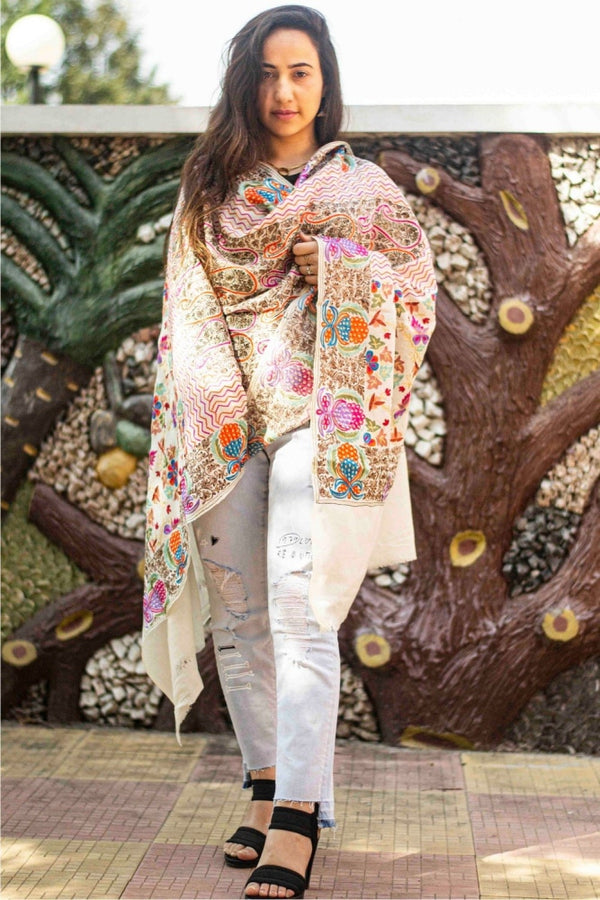 White Colour Stole With Kashmiri Embroidery Compliments The