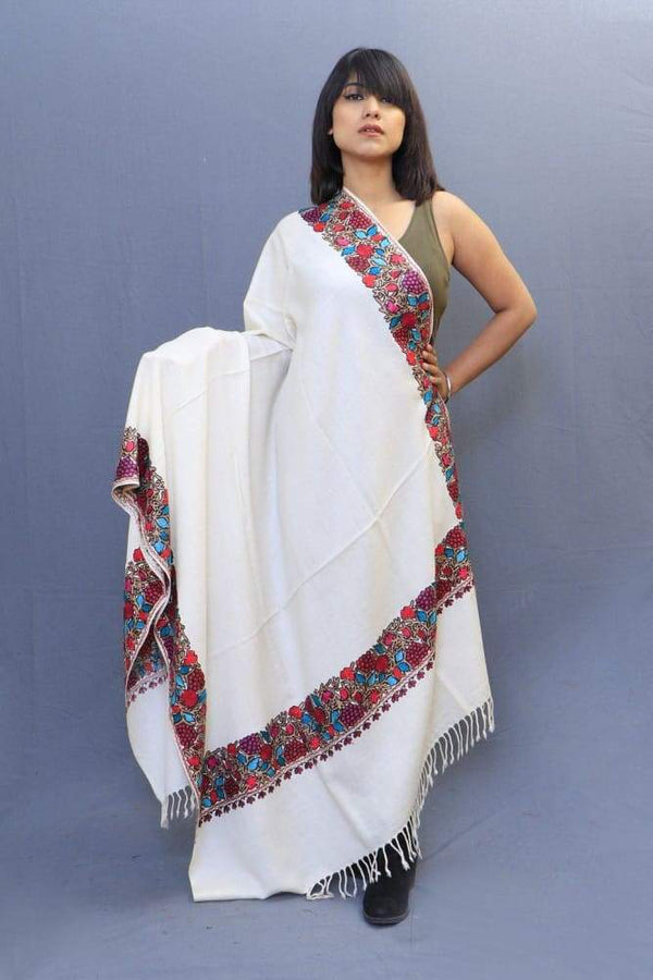 White Colour Stole With Kashmiri Four Sided Border Add