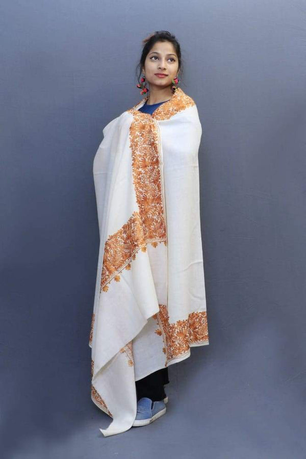 White Colour Wrap With Brown Aari Embroidery Looks Beautiful