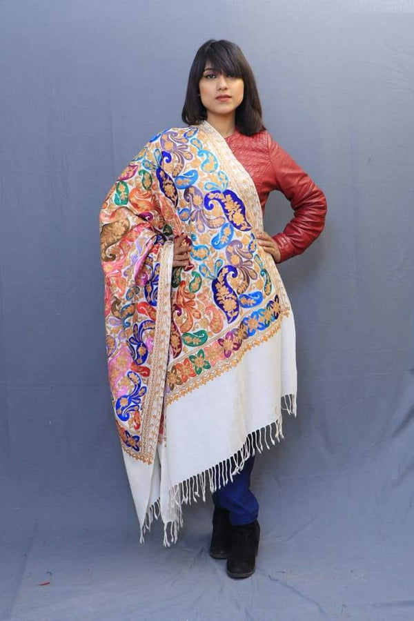 White Colour Wrap With Richly Designed Aari Jaal And Highly