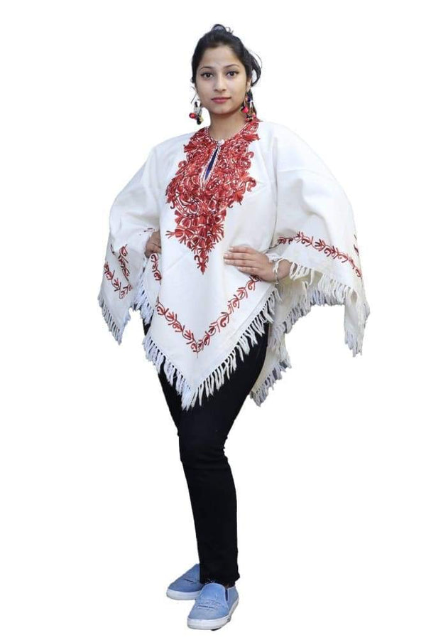 White Red Color Kashmiri Aari Work Embroidered Poncho