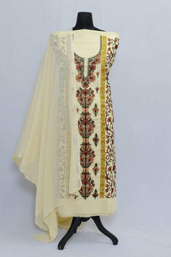 Yellow Color Designer Aari Work With Flower Neckline Pattern