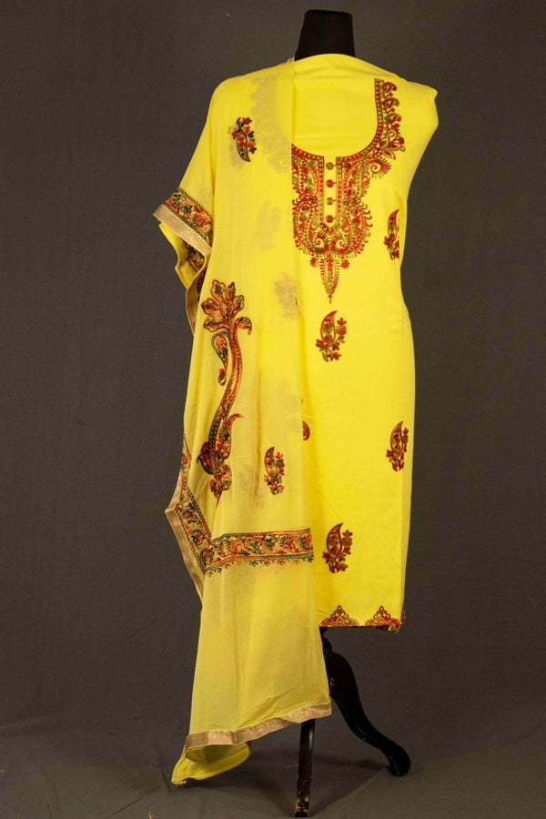 Yellow Color Glace Cotton Kashmiri Embroidered Designer Suit