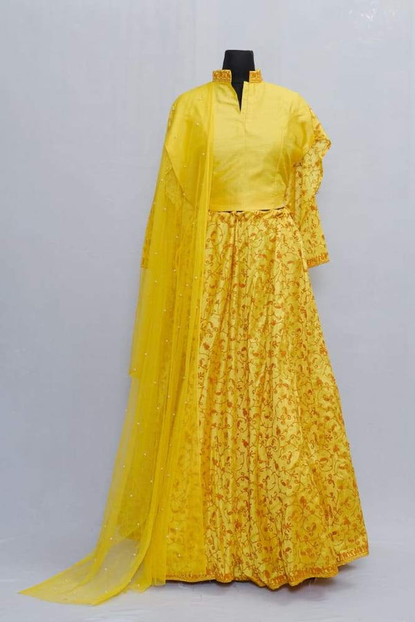 Yellow Color Kashmiri Embroidered Skirt With Crop Top And